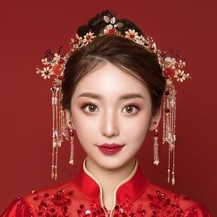 新娘秀禾頭飾2020新款中式大氣紅色鳳冠結婚步搖髮飾秀禾服顯臉小