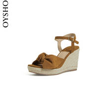 Autumn and winter discount oysho simple open toe slope heel sandal lace up women's summer 1510806105