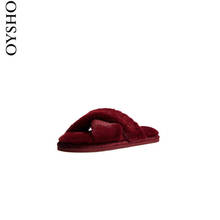 Oysho New Year Limits Red Leather Home Warm Fur Slippers for Women's Winter 11059061020