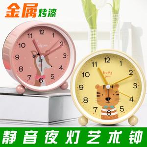 静音夜光闹钟学生可爱床头女桌面迷你儿童小时钟钟表座钟床头钟