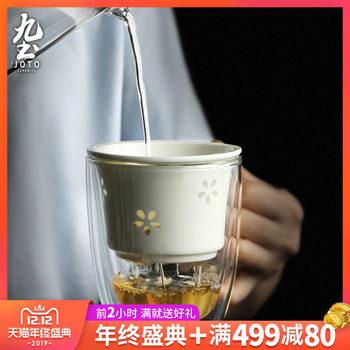 九土双层隔热茶杯玲珑花茶漏绿茶杯