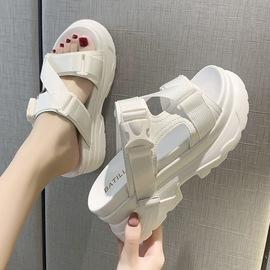 2020夏季新款白色凉拖女百搭增高松糕底少女风厚底罗马坡跟女凉鞋