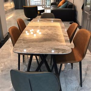 意式岩板现代简约亮光长方形台餐桌