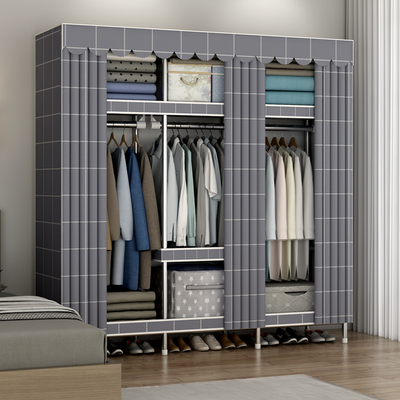 Simple wardrobe strong and durable household thickened all-steel cloth wardrobe steel pipe thickened reinforcement for rental housing storage