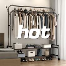 简易衣帽架双杆式晾衣架落地室内折叠挂衣架子家用卧室衣服收纳架