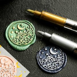 火漆上色笔印章油漆笔 复古金属笔装饰描边笔DIY手工涂鸦笔手帐笔