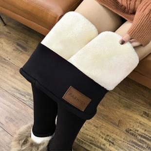 超厚特厚羊羔绒打底裤女裤秋冬季加绒加厚外穿东北一体裤保暖棉裤