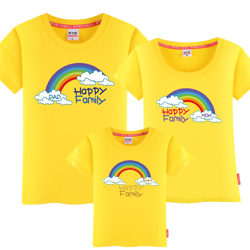 親子裝春夏裝2016 一家三口全家裝短袖彩虹家庭T恤印花上衣