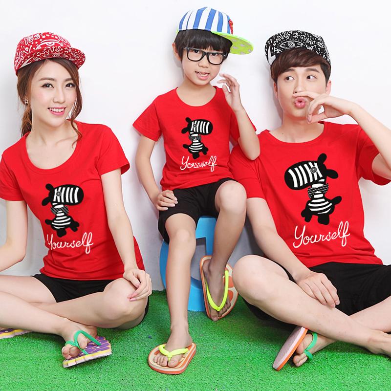 尊卡拉一家三口裝紅色母子t恤