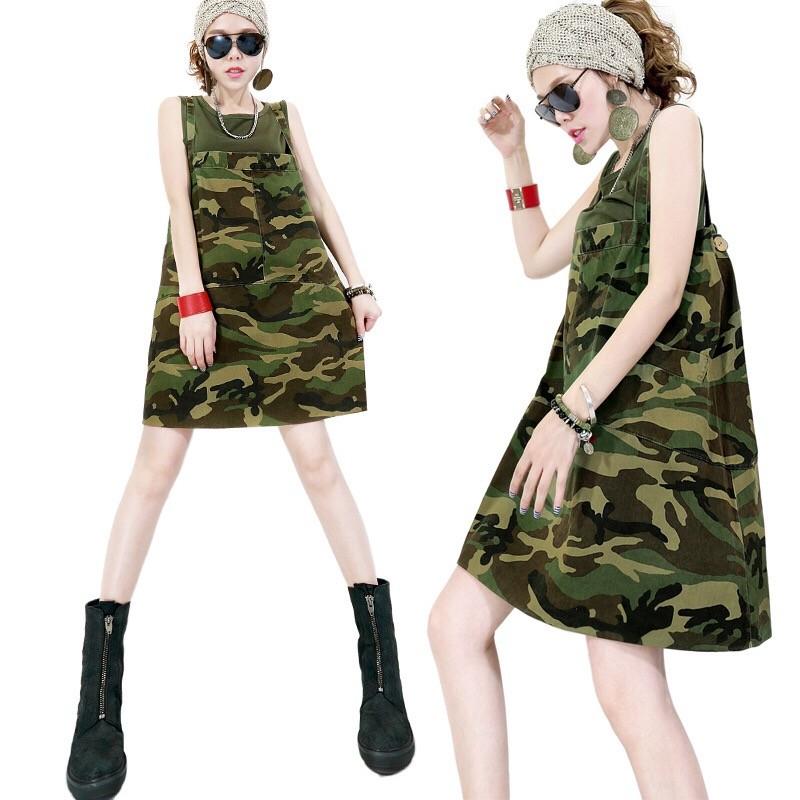 欧洲站时髦套装2020新款夏季女无袖迷彩背带裙宽松连衣裙两件套装