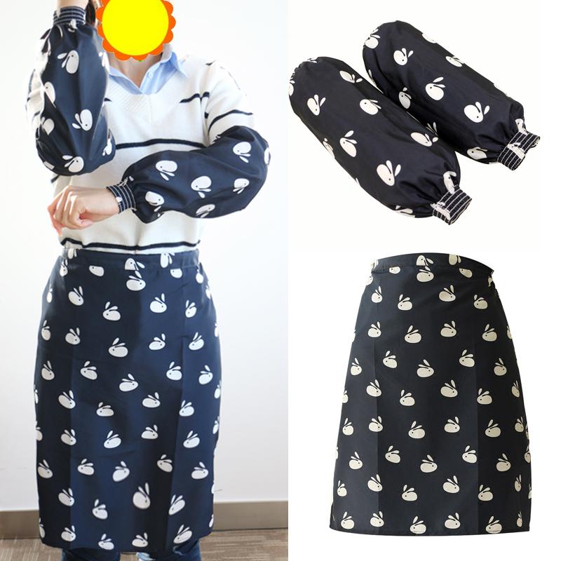 出口日本防水围裙厨房时尚男女围腰免系免绑围裙防油防污
