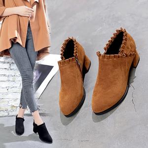 磨砂马丁靴女英伦风裸靴子女短靴粗跟工装靴尖头高跟女靴春秋单靴