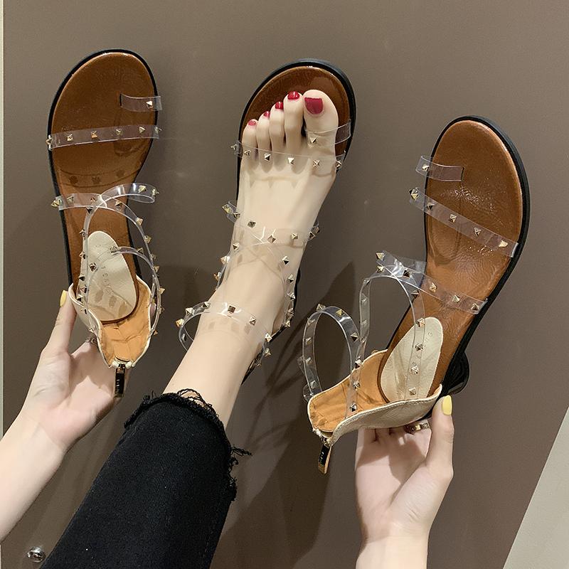 铆钉套趾透明凉鞋女仙女风2019新款夏季韩版百搭圆跟高跟罗马鞋子