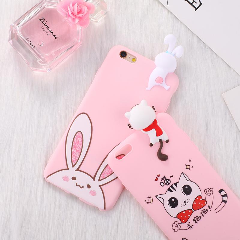 苹果6s手机壳iPhone6plus硅胶套猫兔立体公仔趴趴粉色全包防摔女6