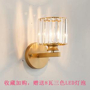 新款大气美式水晶壁灯客厅卧室创意个性铁艺简约现代金色轻奢
