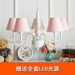 5頭吊燈韓式簡約田園小清新粉色混搭公主女孩臥室書房間北歐裝飾