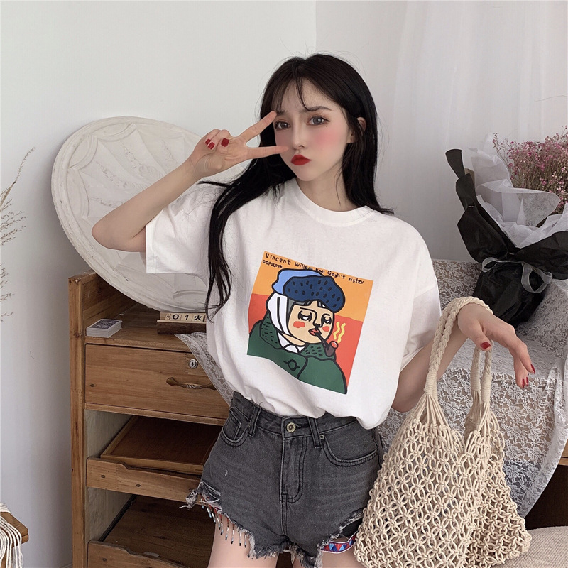 Summer new personalized head picture loose and versatile cartoon short sleeve T-shirt girl student shirt animation new 3 points