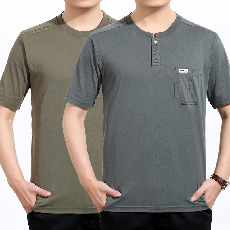 短袖t恤男士中老年爸爸夏�b�棉加肥加大中年男�b有口袋半袖汗衫