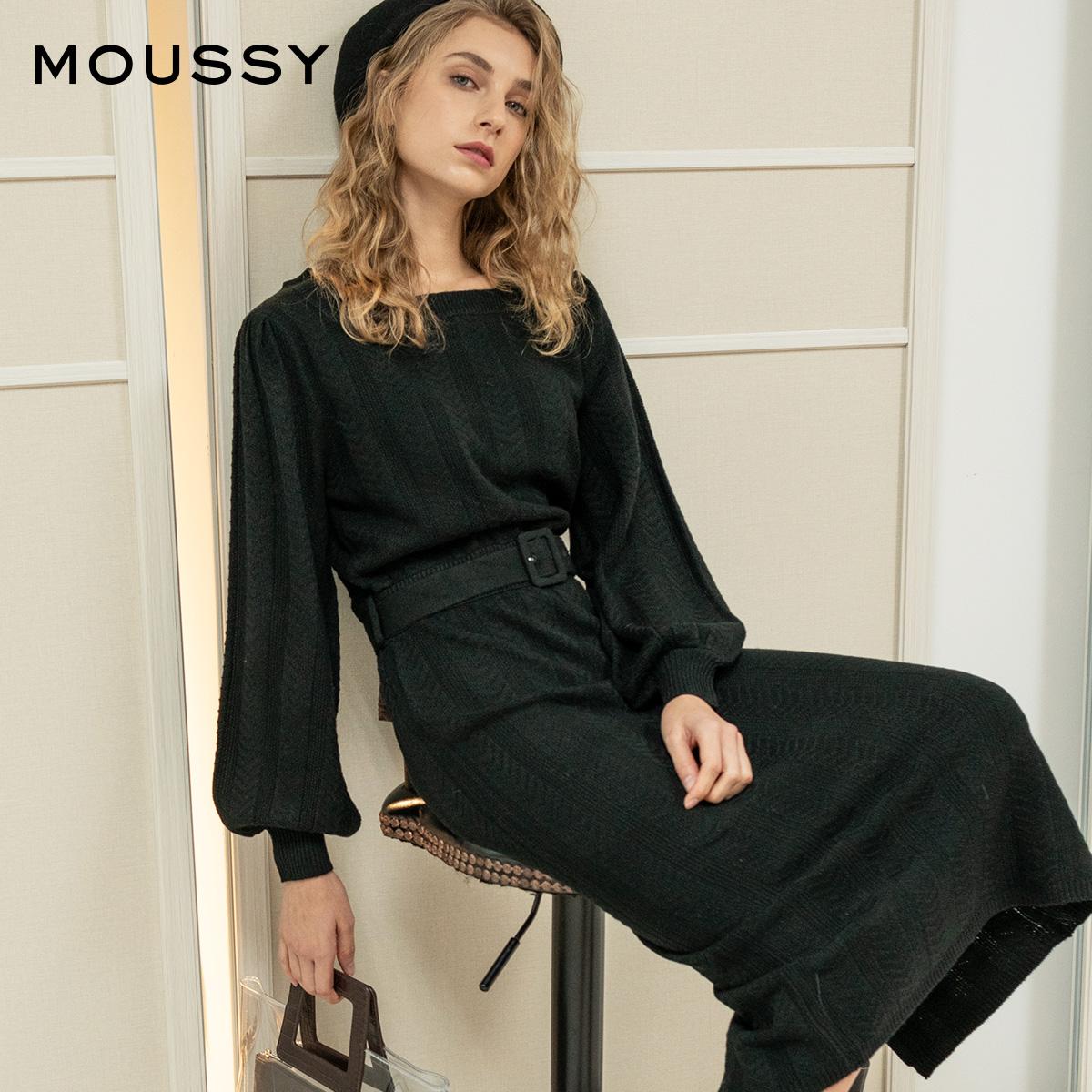 MOUSSY Square Collar Waist Slit Loose Knit Dress 010CAF70-6110