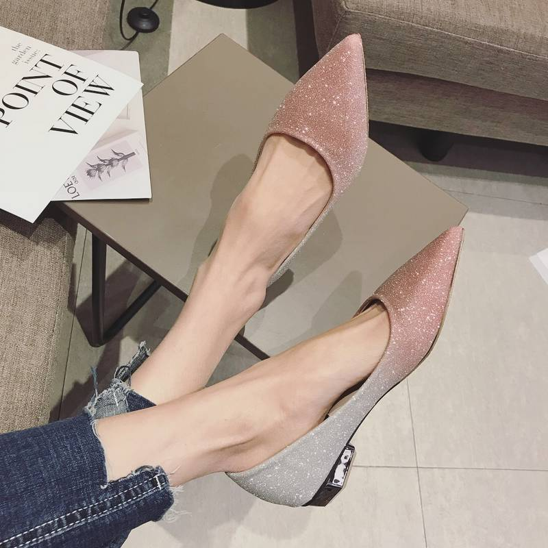 2020 spring and autumn gradient low heel shoes shiny flat shoes pointed single SHOES BRIDAL SHOES BRIDAL SHOES Bridesmaid shoes