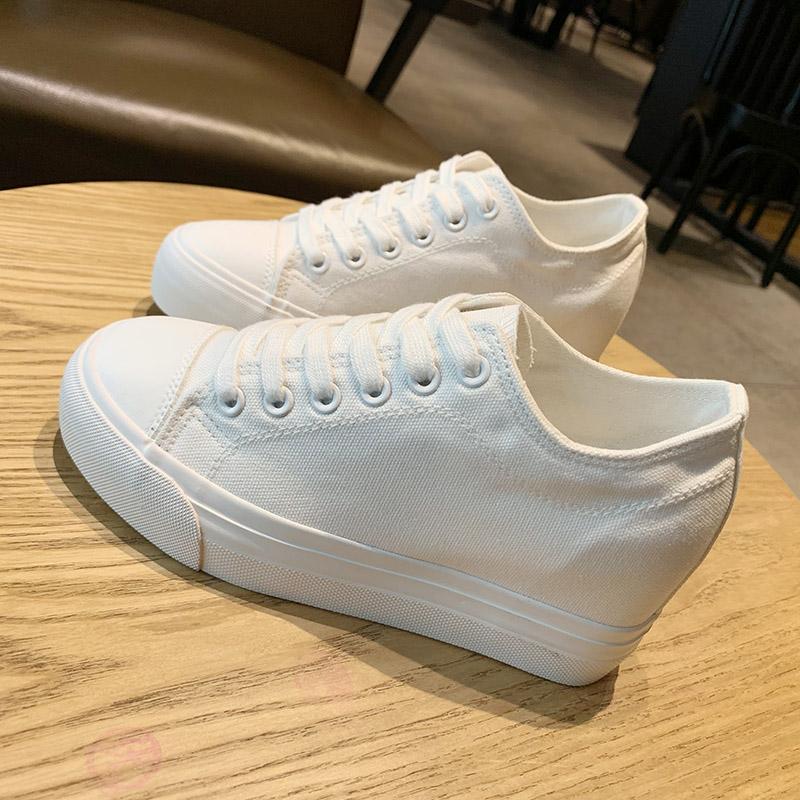 环球女鞋内增高护士小白鞋女8cm夏季2020新款韩版厚底增高帆布鞋