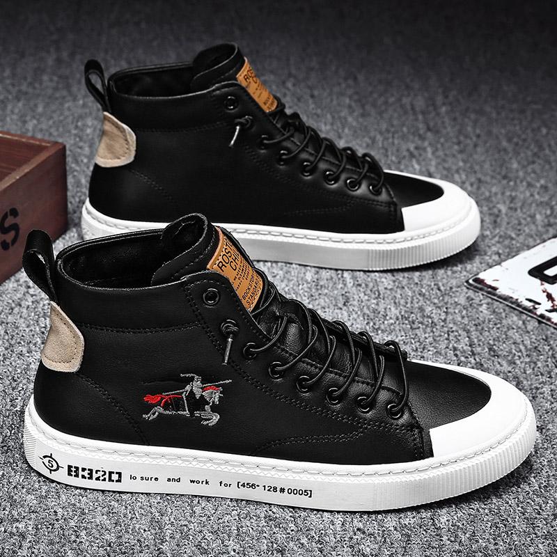 新款秋冬季学生潮流中帮英伦休闲黑色皮鞋平板鞋百搭潮鞋2020男鞋