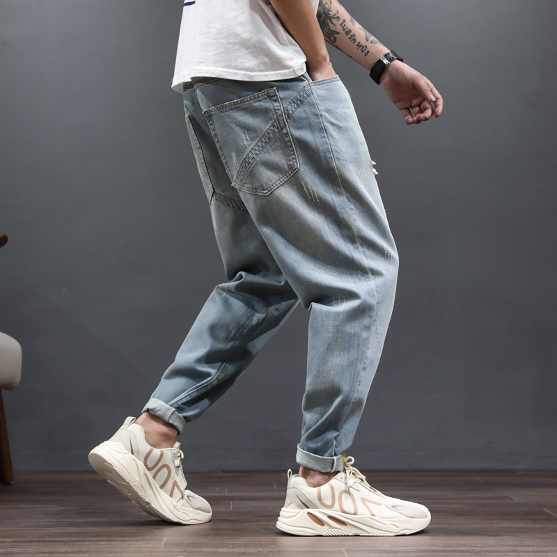 Spring jeans mens loose Korean Trend light color Harun corset overalls versatile fashion brand pants chubby man