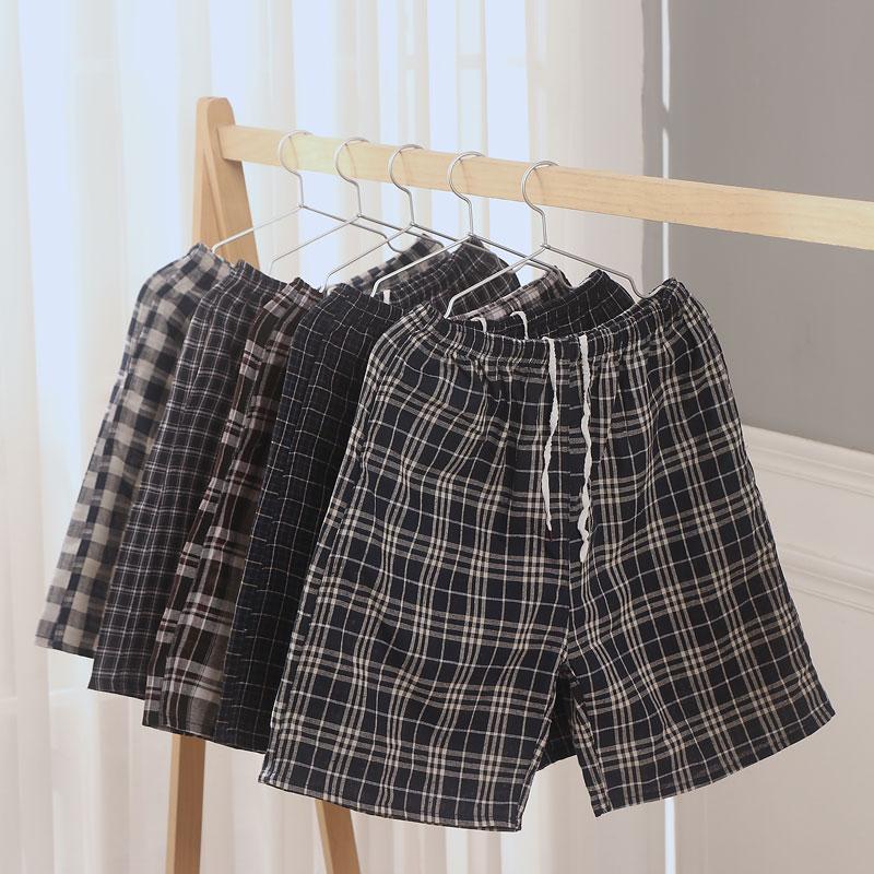 父亲大码男士格子夏纯棉五分裤短裤