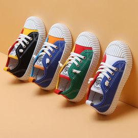儿童帆布鞋2020春季新款女童帆布鞋宝宝绿色色鞋子男童布鞋子图片