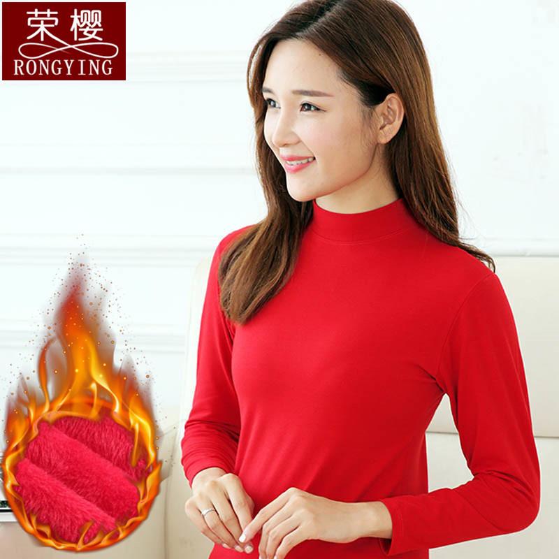 冬季中青年女士修身保暖内衣加绒加厚高领纯棉秋衣单件上衣防寒衣
