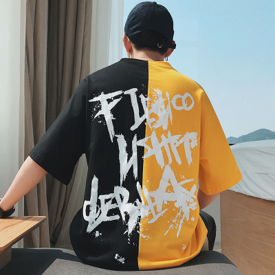 原967)916-T77-P35 2018夏装新款 拼色五分袖短袖T恤男 港风M-5XL