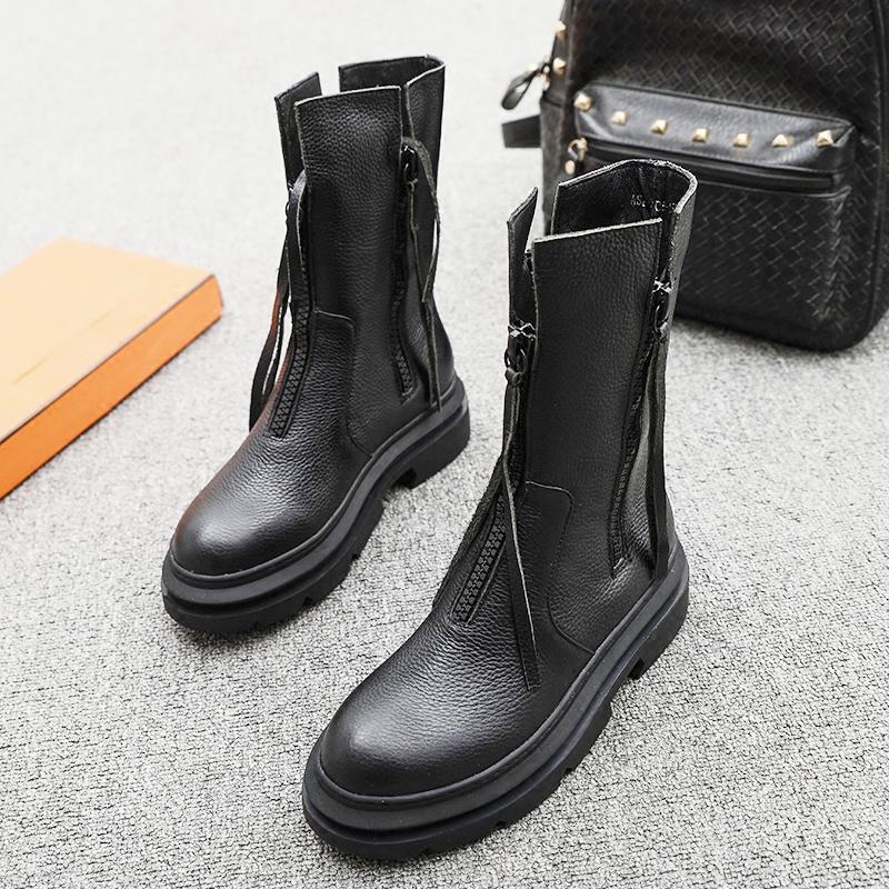 欧洲站2020冬季新款女鞋圆头真皮平底双拉链中筒靴流苏马丁靴短靴