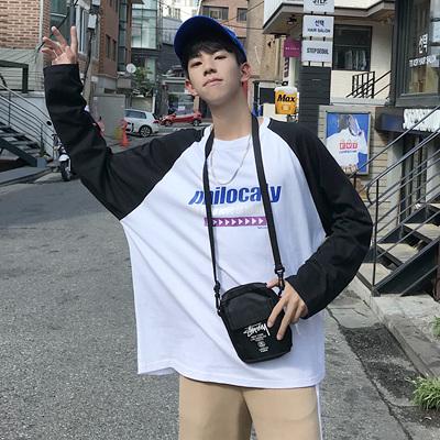 2018秋季新品男士韩版檫肩袖长袖圆领T恤两色 1886-P45(控58)