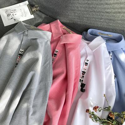 2018秋季新品韩版青少年个性纯色卡通绣花长袖衬衫 四色 1719-P45