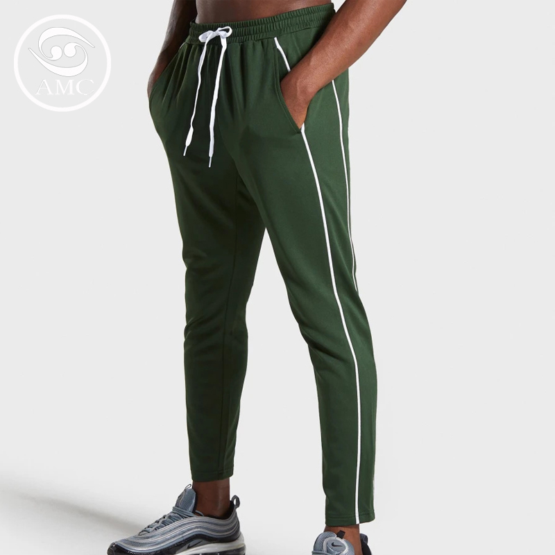 Mens new outdoor training tight high elastic fitness striped pants