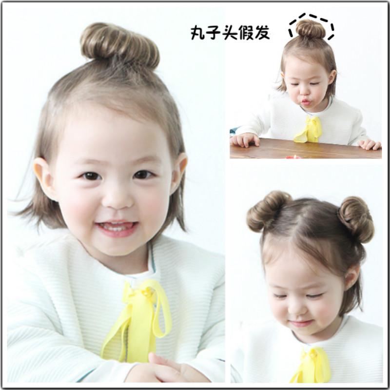 韩国潮妞可爱丸子头假发女宝宝发夹婴儿头饰拍照女童假发仿真发质