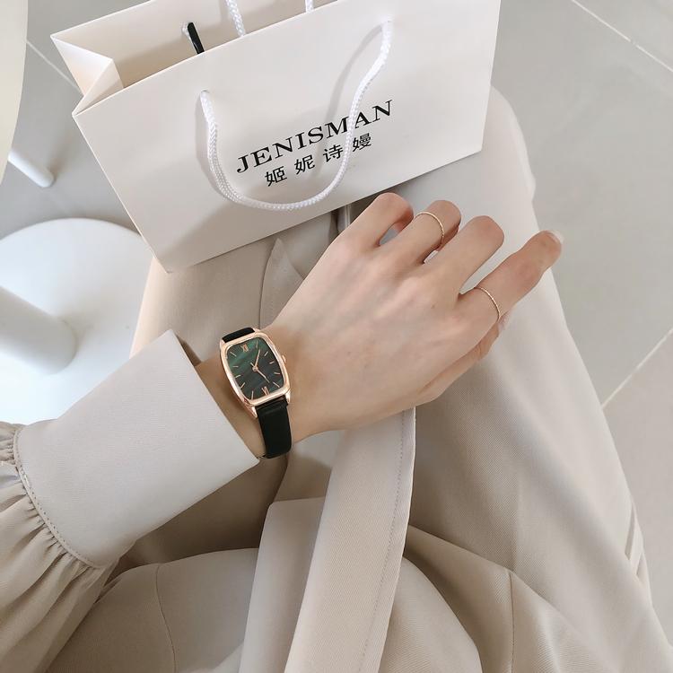 轻奢法国小众品牌手表女士细带小巧精致时尚简约气质方形绿表学生