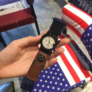欧美潮牌大表盘复古男女学生手表休闲大气潮流个性运动尼龙帆布带