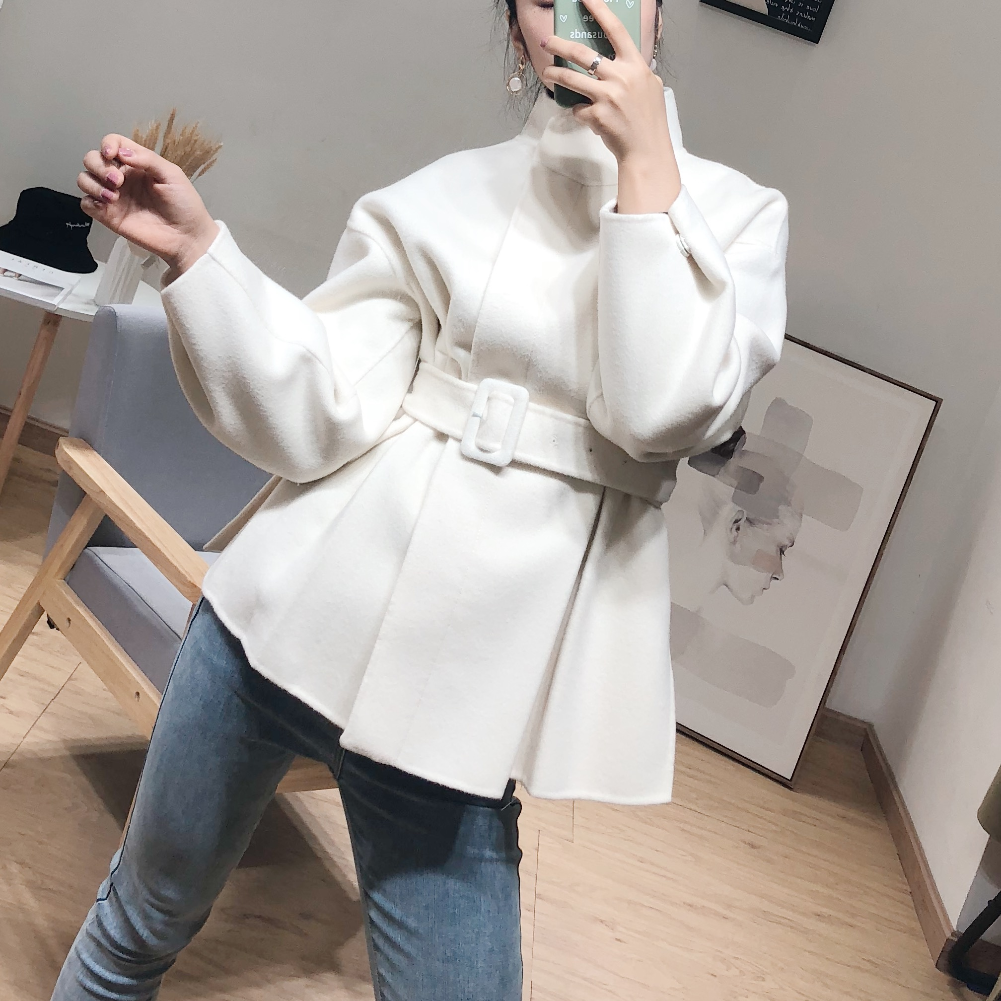 双面呢羊绒大衣羊毛呢子外套女小个子短款韩版修身显瘦高端秋冬厚