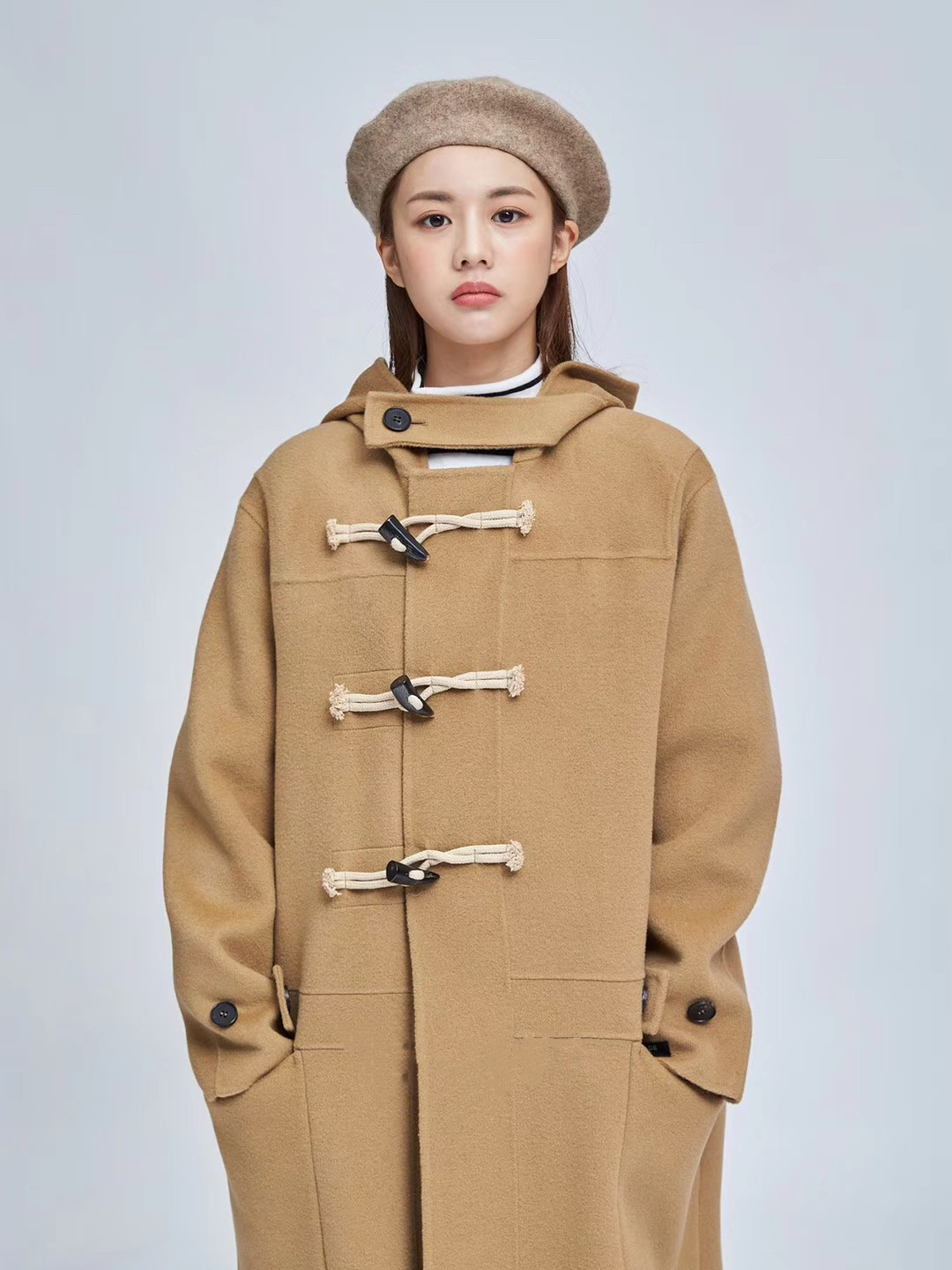 Winter ox horn buckle all wool double-sided tweed coat hand stitched cashmere