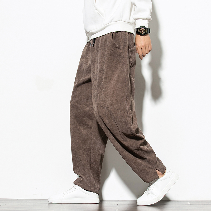 Chinese style big fat mens casual slacks mens trousers corduroy striped Harem Pants lantern fashion spring