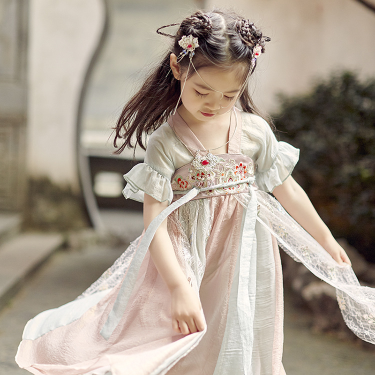 Small and medium-sized girls improved daily Hanfu lovely national style mesh splicing color fashion dress short sleeve embroidery