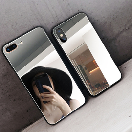 网红同款苹果x手机壳镜面7p潮牌新款XR镜子6splus个性女款iPhone8全包11防摔xs创意pro软8plus抖音ins挂绳max图片