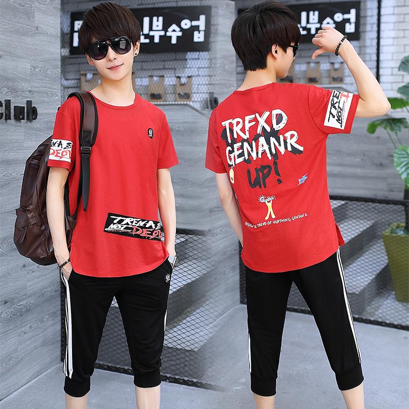 韩版潮流短袖t恤七分裤一套夏季青少年初中学生男士帅气运动套装