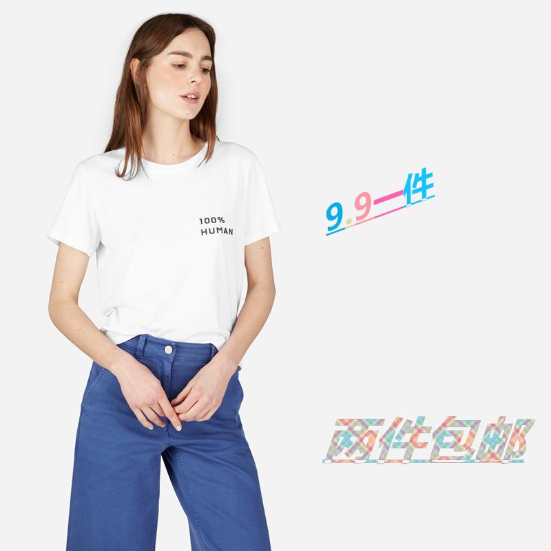 极简纯色风everlane纯棉质女士T恤上衣简约休闲短袖韩版百搭印花