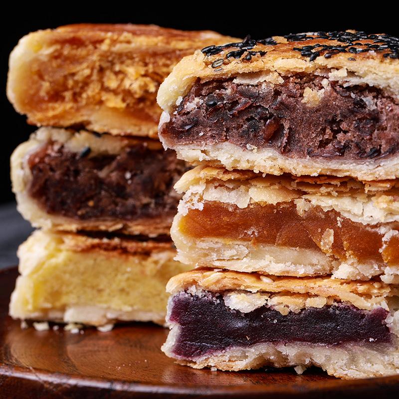 豆沙饼紫薯南瓜肉松绿豆饼苏式特色软软糯糯的手工糕点混合6枚1盒