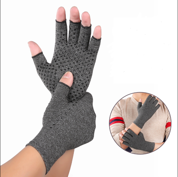 Indoor sports antiskid health care half finger gloves rehabilitation training arthritis pressure gloves