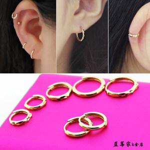 韩国正品10K14K金耳扣简洁黄金小圈圈耳环时尚通勤小耳圈耳骨环女