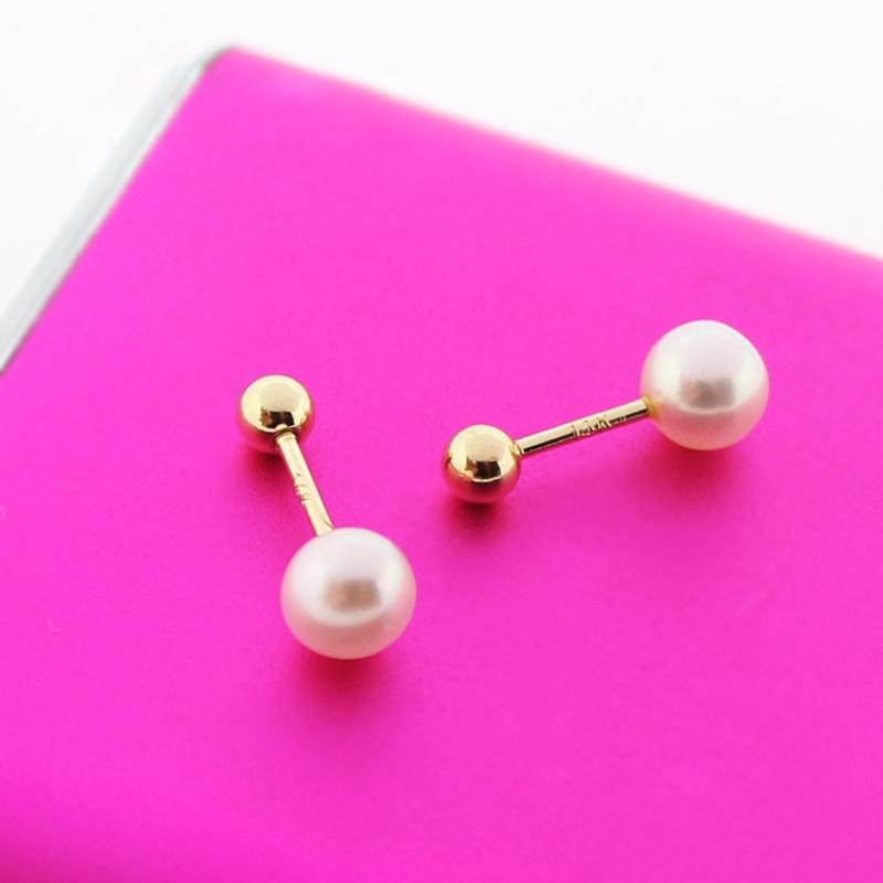 蓝莓甜心韩国纯14K金耳钉 简洁天然淡水珍珠k纯金拧螺丝耳骨钉女