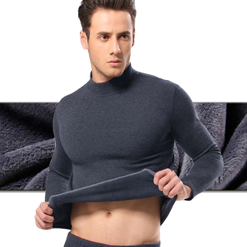 加絨加厚男長袖半中高領t恤純棉保暖內衣打底秋衣彈力上衣冬深灰